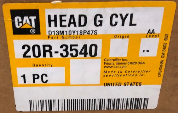 New Caterpillar Reman cylinder head 20R3540 (4547348, 3805797, 3356218, 10R8844, 10R2003) - Yellow Power International