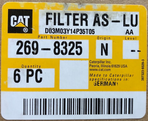 New Caterpillar oil filter 2698325 (4621171) - box of 6 filters - Yellow Power International