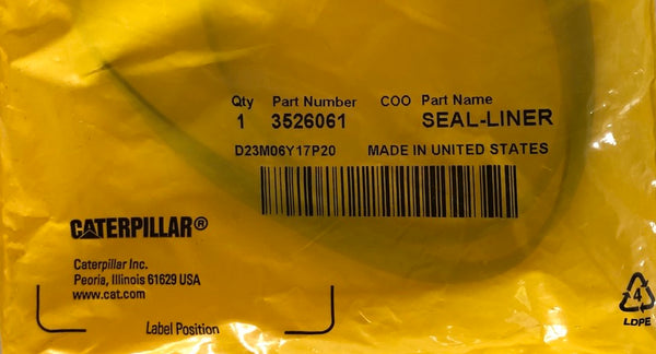 New Caterpillar liner seal 3526061 (3394950)