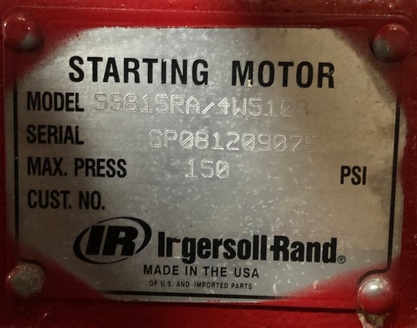 Used Caterpillar air starter 4W5108 / Ingersoll Rand SS815RA (7C3372, SS800RA, 5N8773, 4W5107, 0R9851, 10R1833)