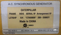New Caterpillar generator LC7024F frame 338-2088 arrangement C7A00806 serial nr. for C18 gen set - Yellow Power International