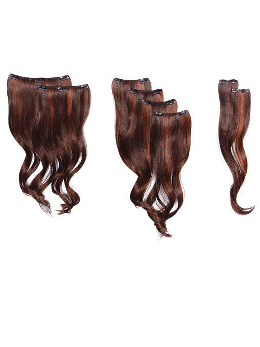 "18"" WAVY CLIP IN HAIR EXTENSIONS 8 PIECES"