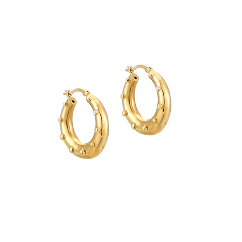 dotted hoops - seol gold