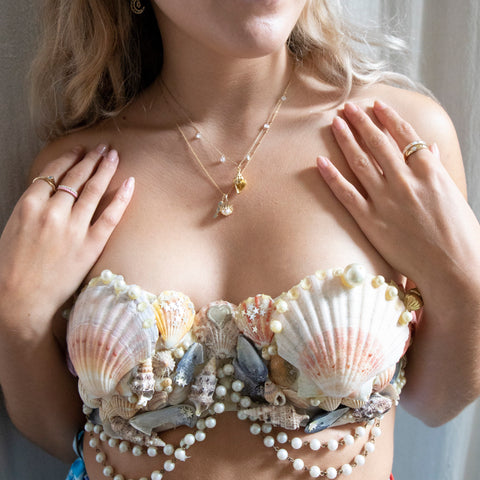 seol gold mermaid shell bra