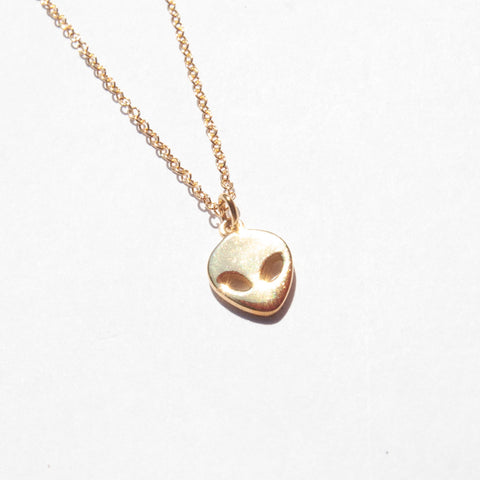18ct gold plate alien necklace