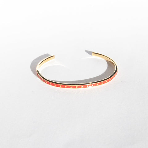 18ct gold plate red enamel bangle seol gold