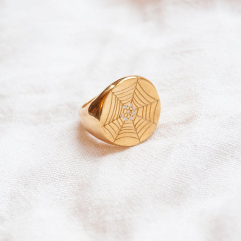 18ct gold plate spider web ring