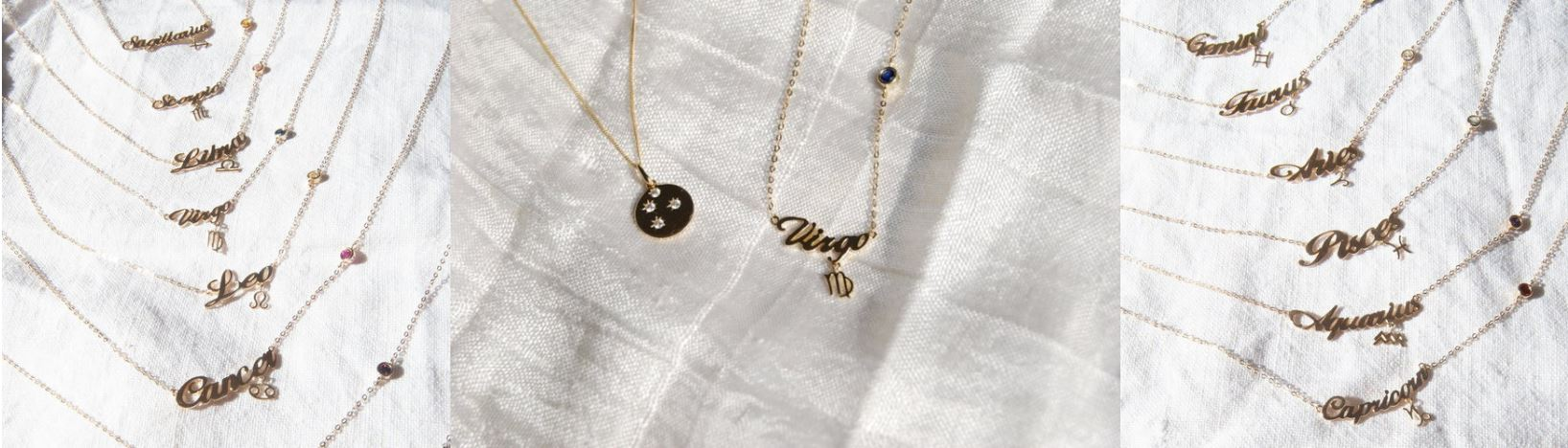 zodiac 9ct gold necklaces seol gold