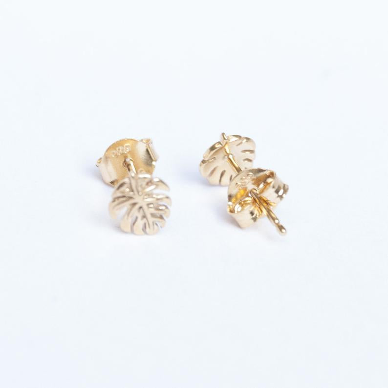 cheese plant earrings - seol gold