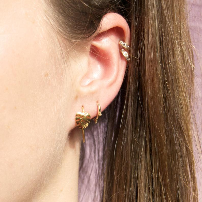 cheese plant stud earrings - seol gold