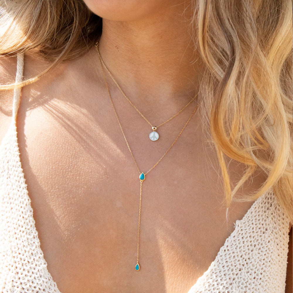 Turquoise Lariat Necklace - seol-gold