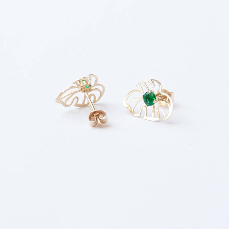 cheeseplant earrings - seol gold