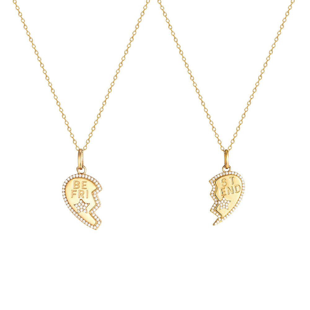 gold best friend necklace - seolgold
