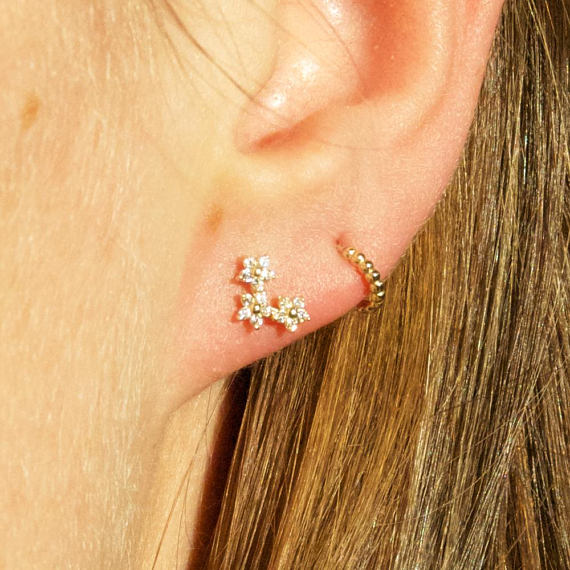 9ct Gold Flower Trio Studs - seol-gold