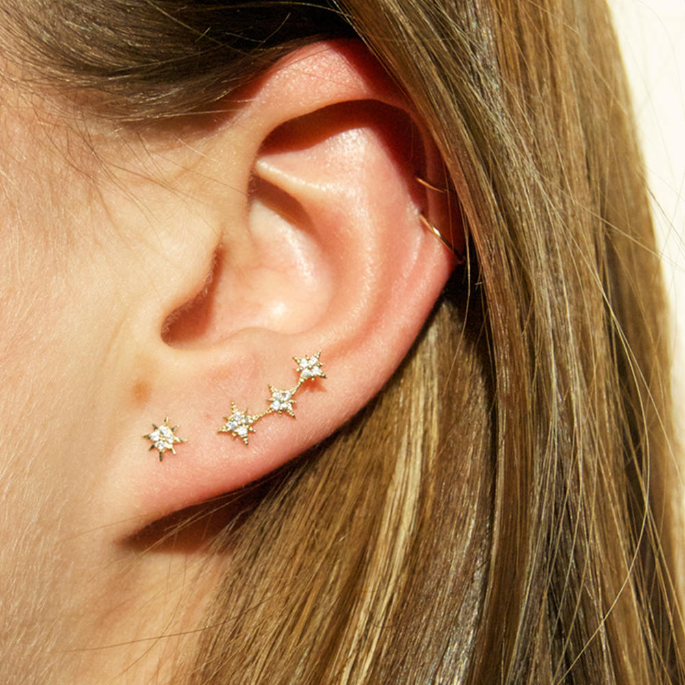 9ct Gold Star Climber Studs - seol-gold