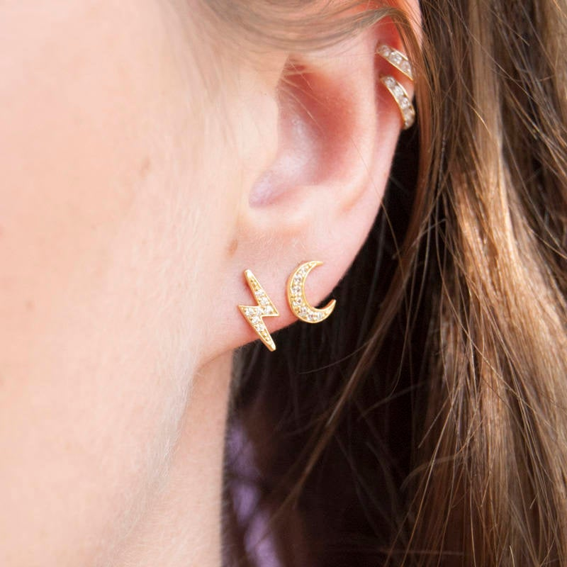 Gold CZ Stud earrings - seol-gold