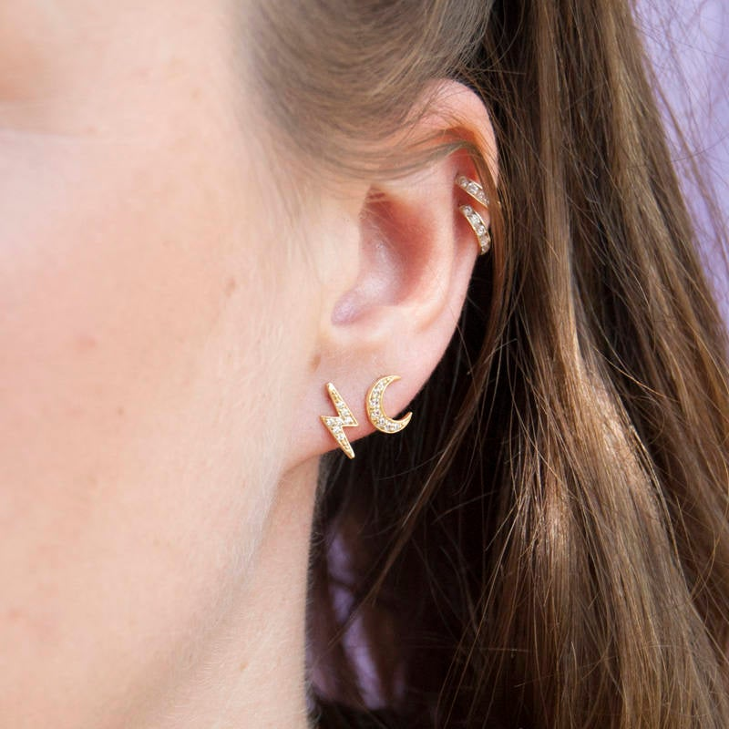 Tiny Lightning CZ Studs - seol-gold