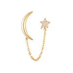 9ct Gold CZ Star and Moon Chain Studs