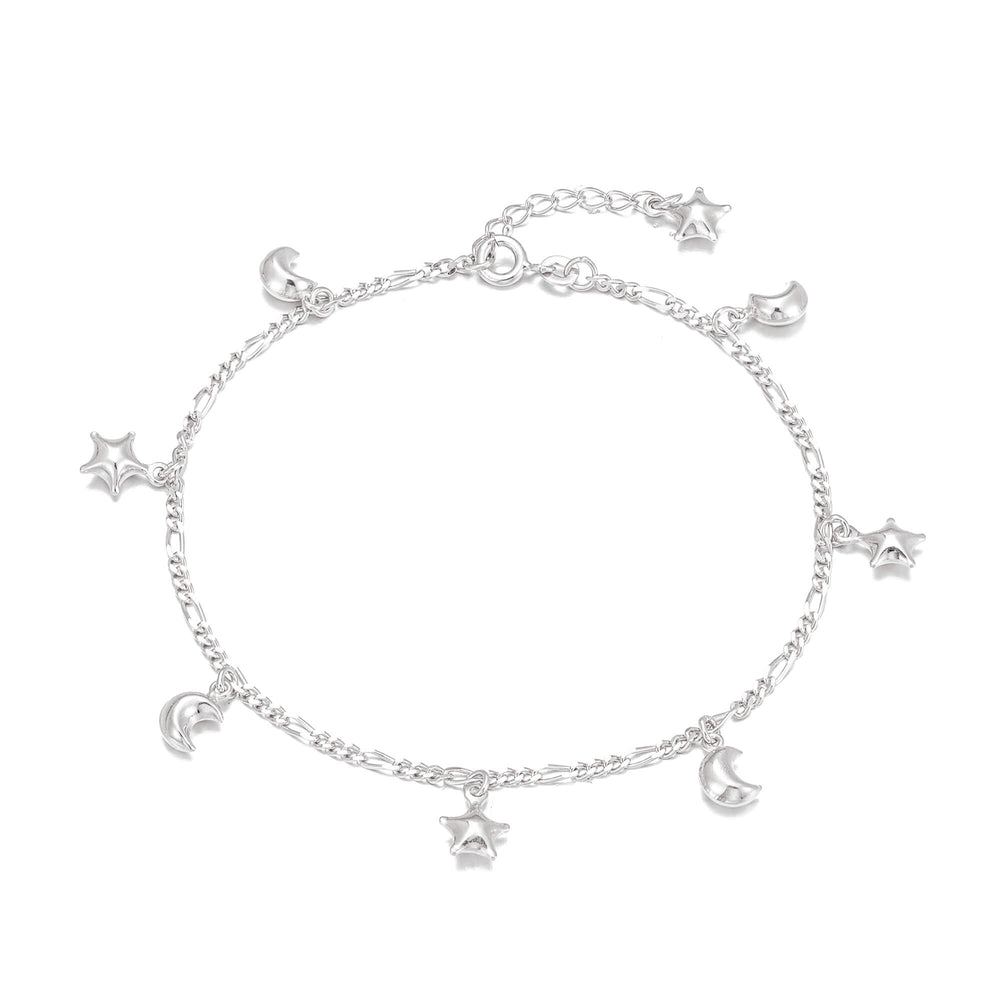 silver star moon anklet - seol gold
