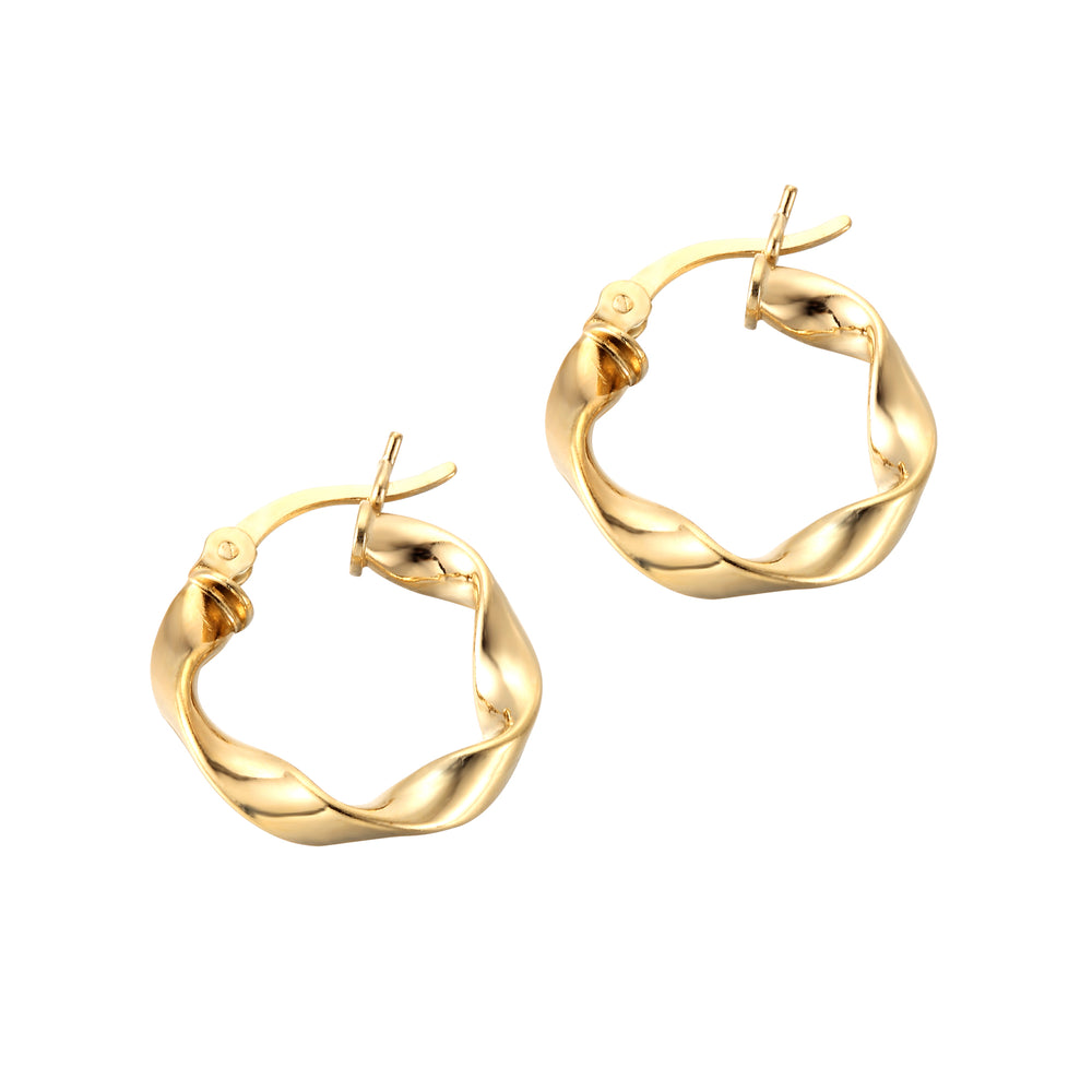 gold twisted hoops - seolgold
