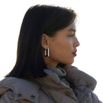 silver chunky hoops - seolgold