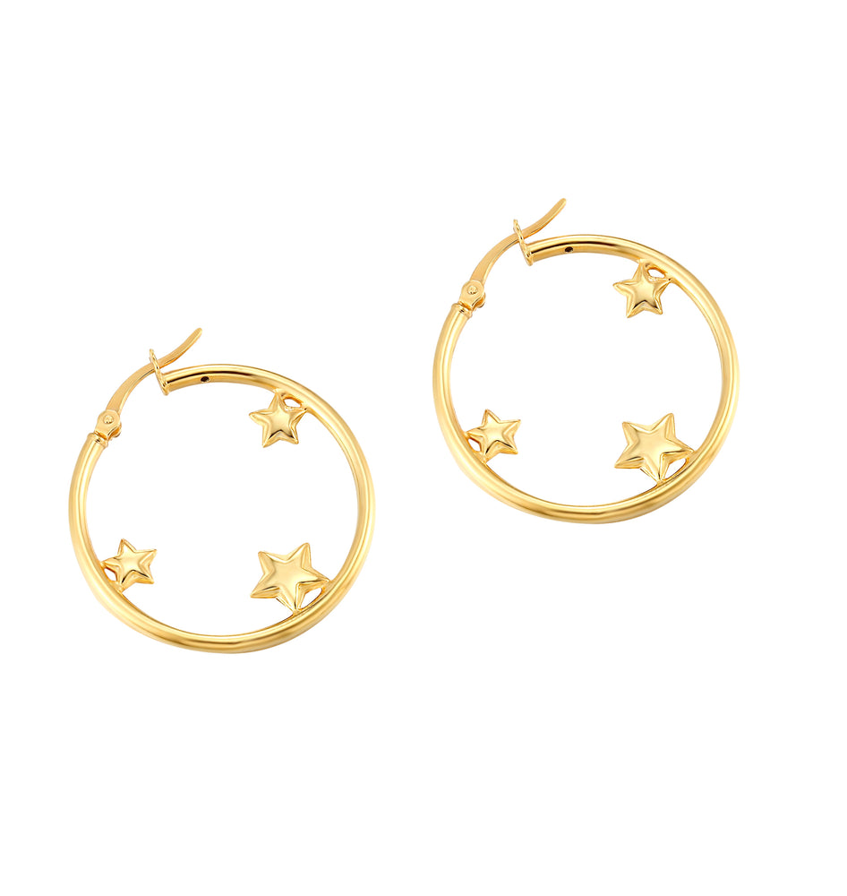 star creole hoops - seol gold