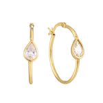 teardrop cz - large hoop earrings - seolgold