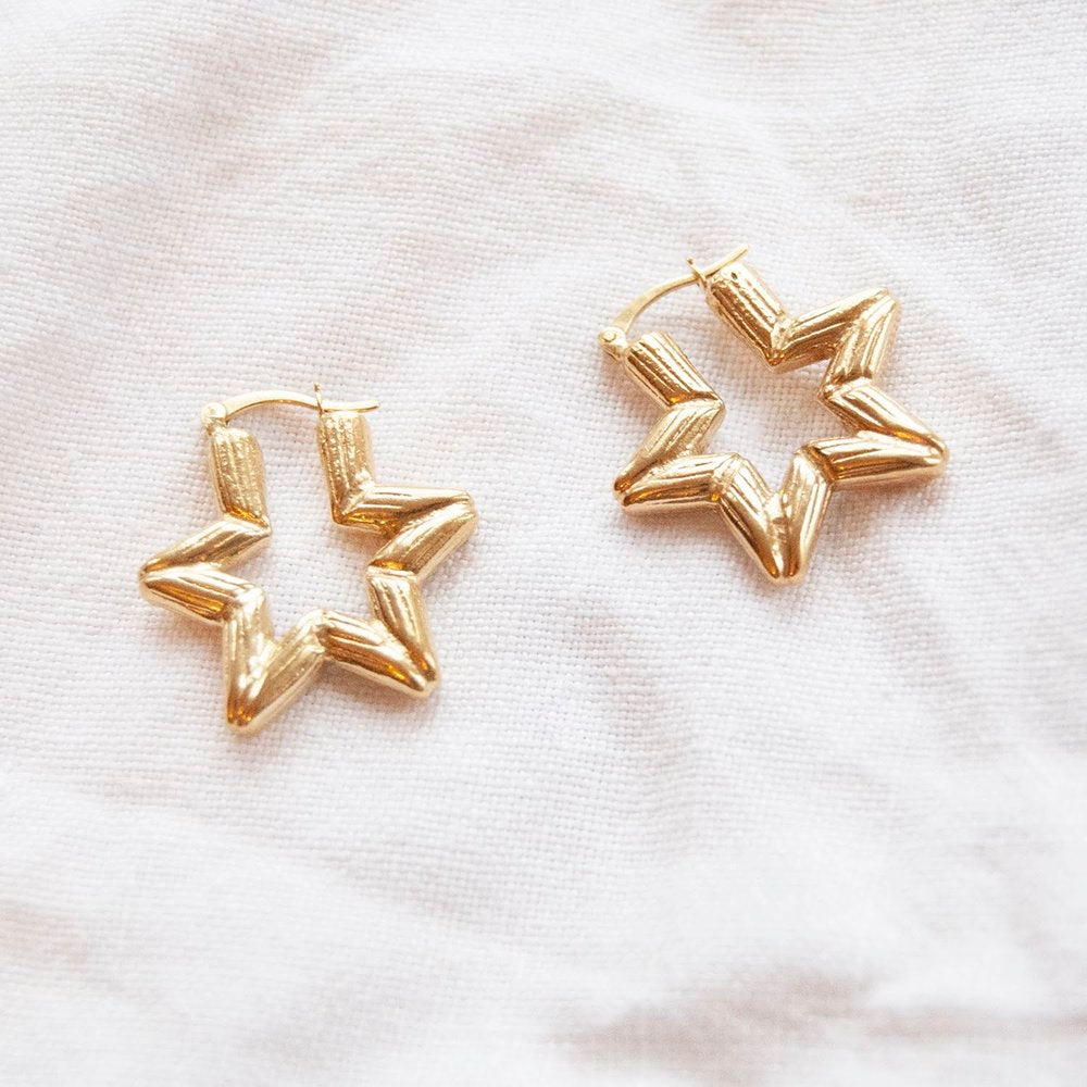Bamboo Star Hoops - seol-gold