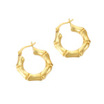 Bamboo Creole Hoop Earrings - seol-gold