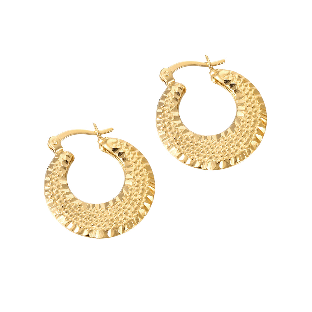 Hammered Creole Hoops - seol-gold