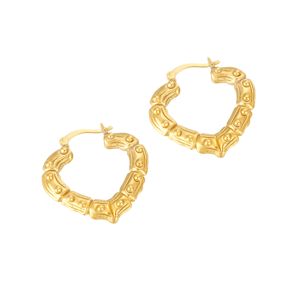 Bamboo Heart Creole Hoop Earrings