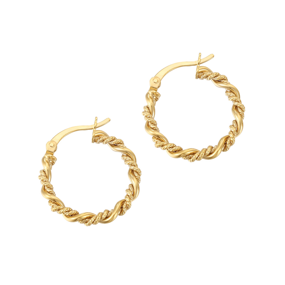 twisted rope gold creoles - seolgold