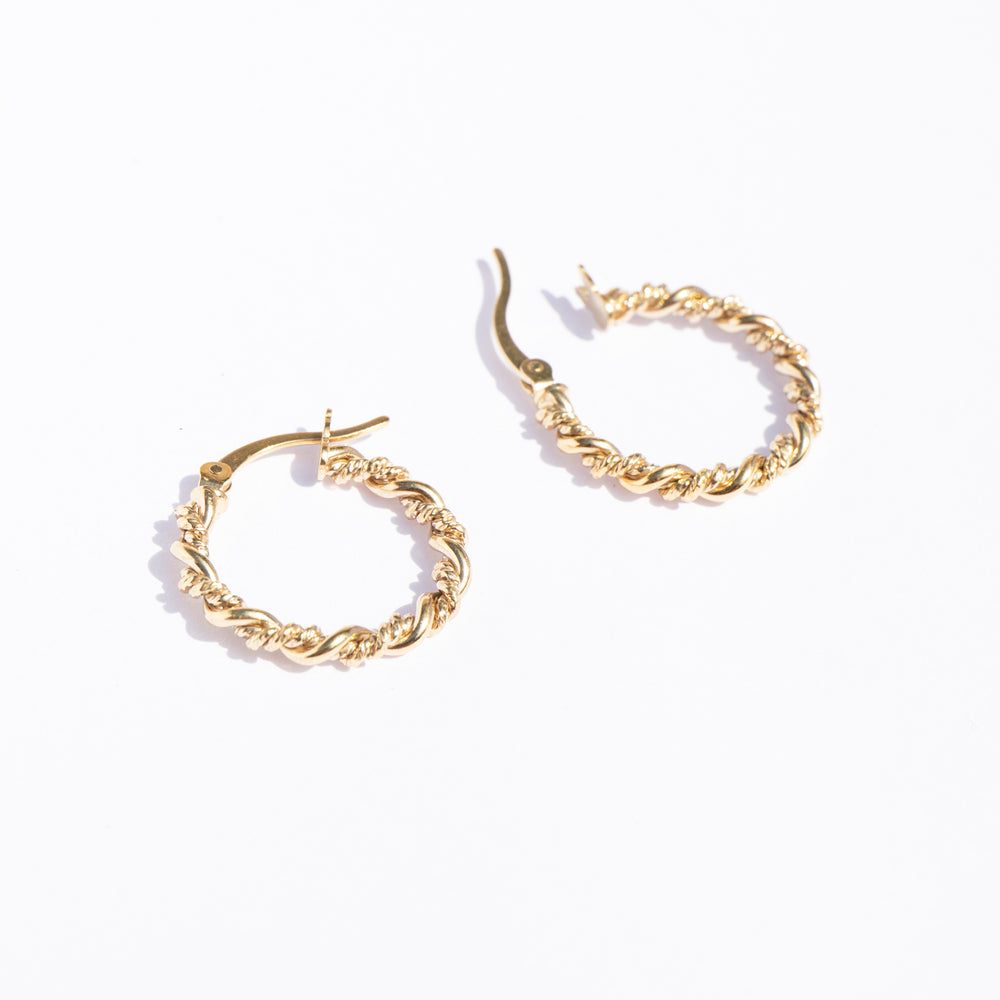 Twisted Rope Creole Hoops - seol-gold