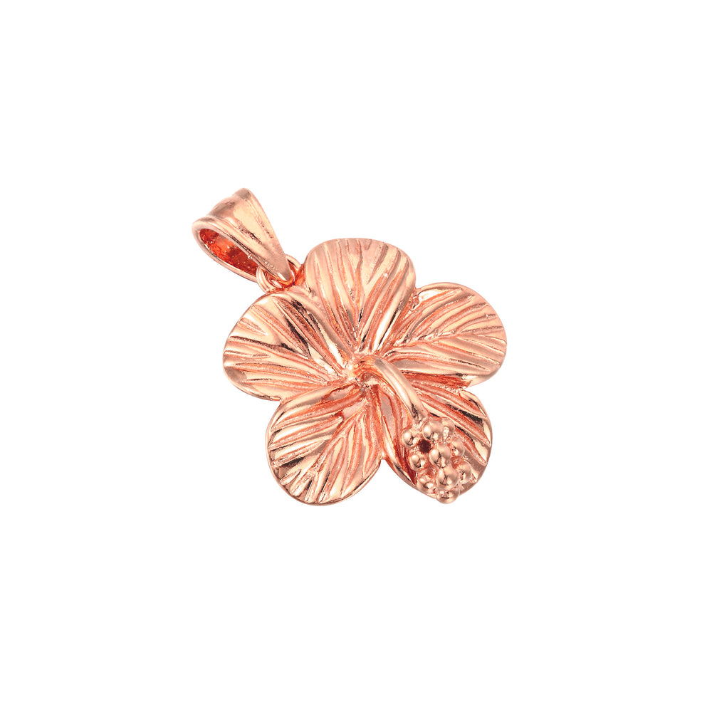 rose gold hibiscus flower charm - seolgold