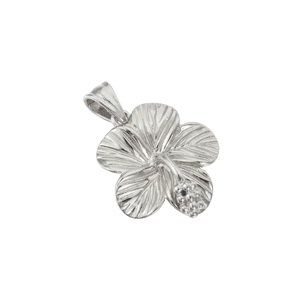 silver hibiscus flower charm - seolgold
