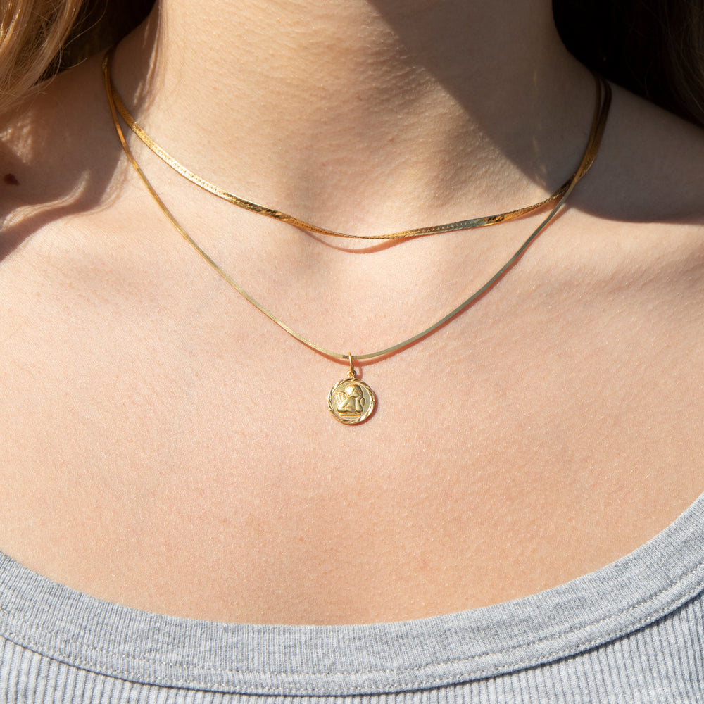 Cherub necklace -seol-gold