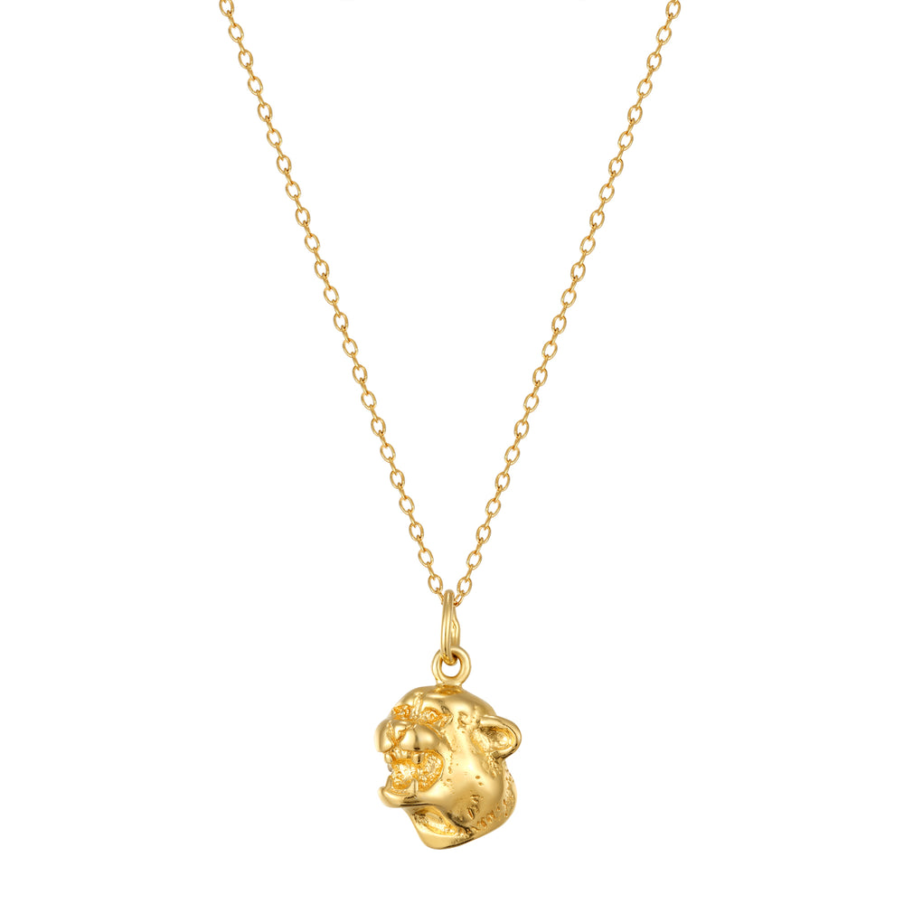 jaguar head neckalce - seol-gold