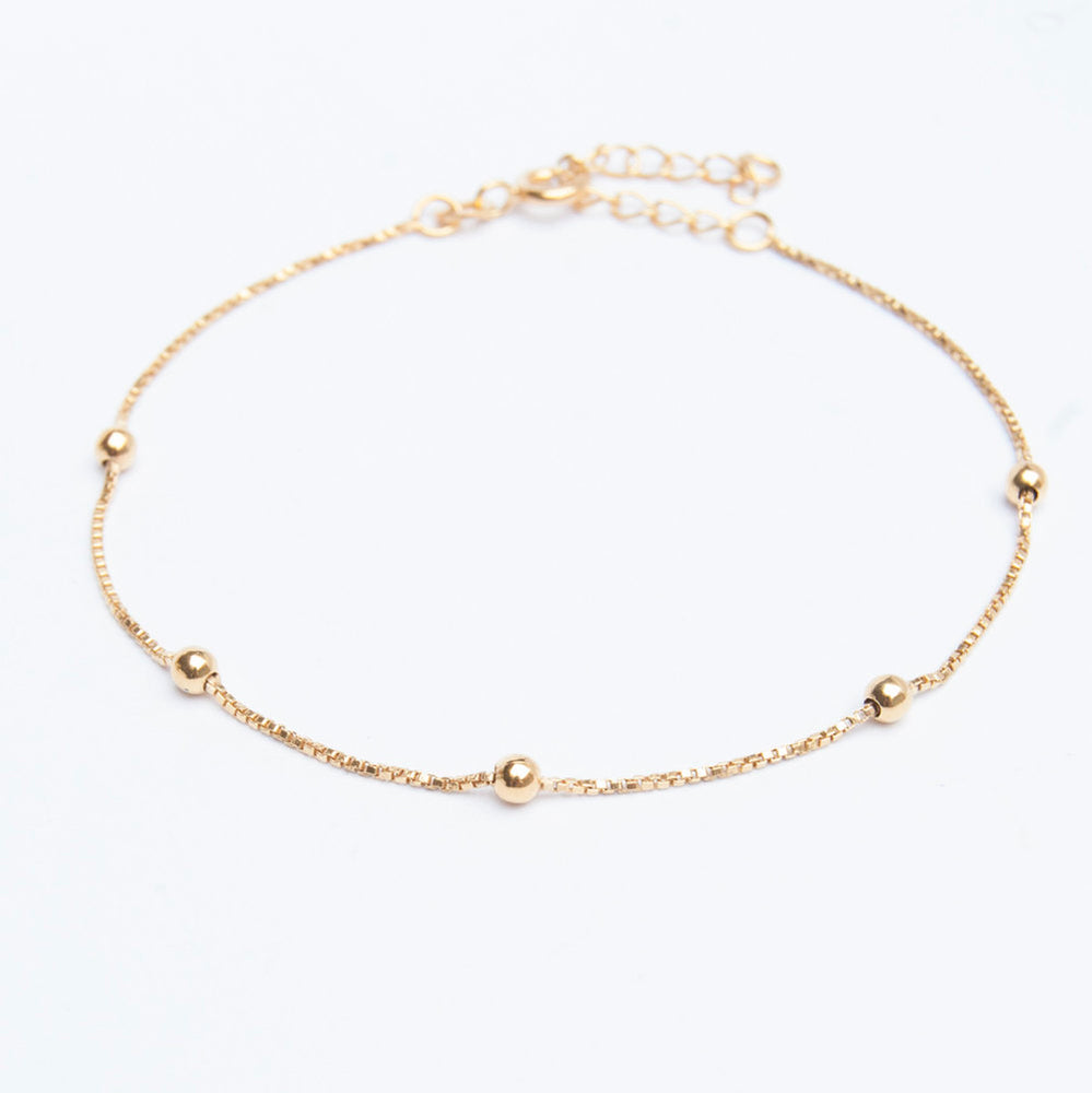 Box Chain Bead Anklet - seol-gold