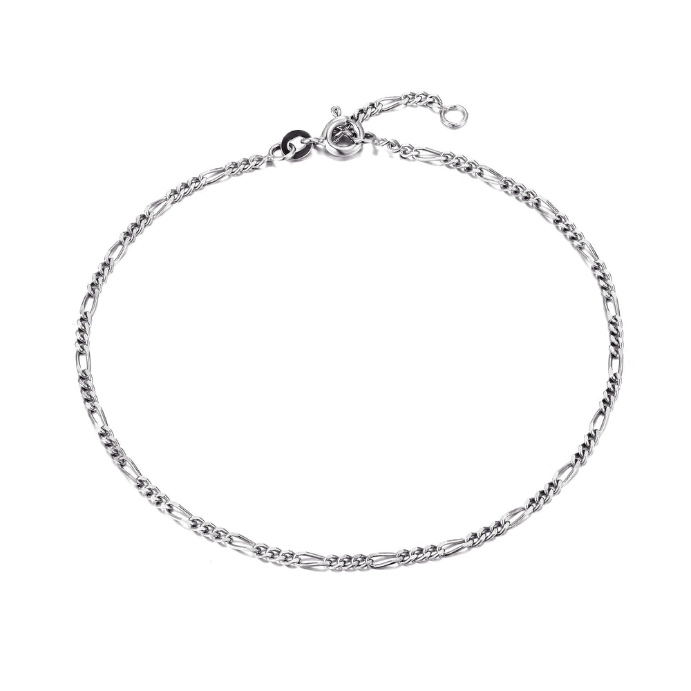 Silver figaro ankle chain - seol-gold