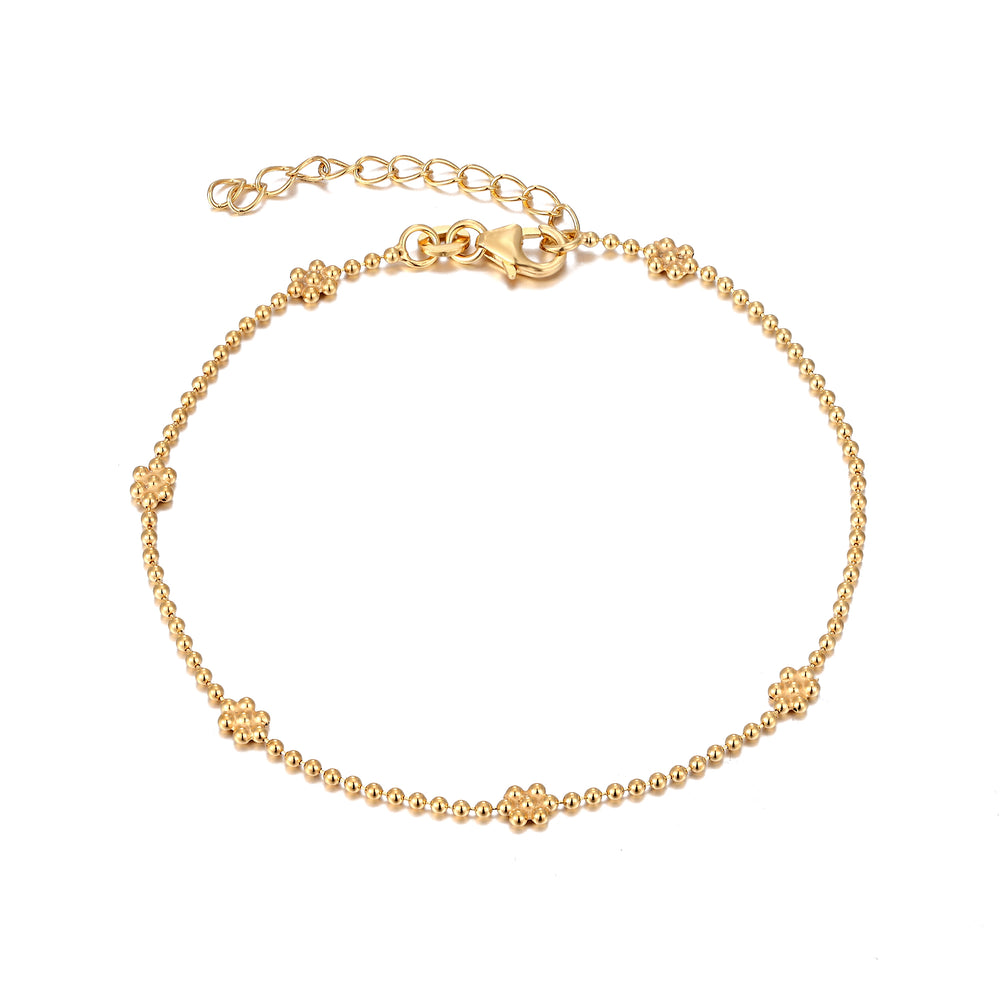 Beaded Flower Anklet - seol-gold