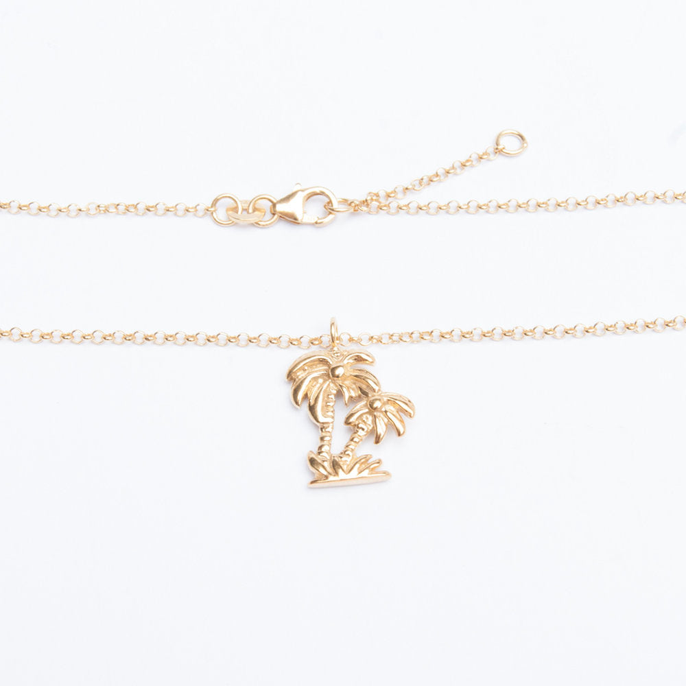 Silver palm tree anklet - seol-gold