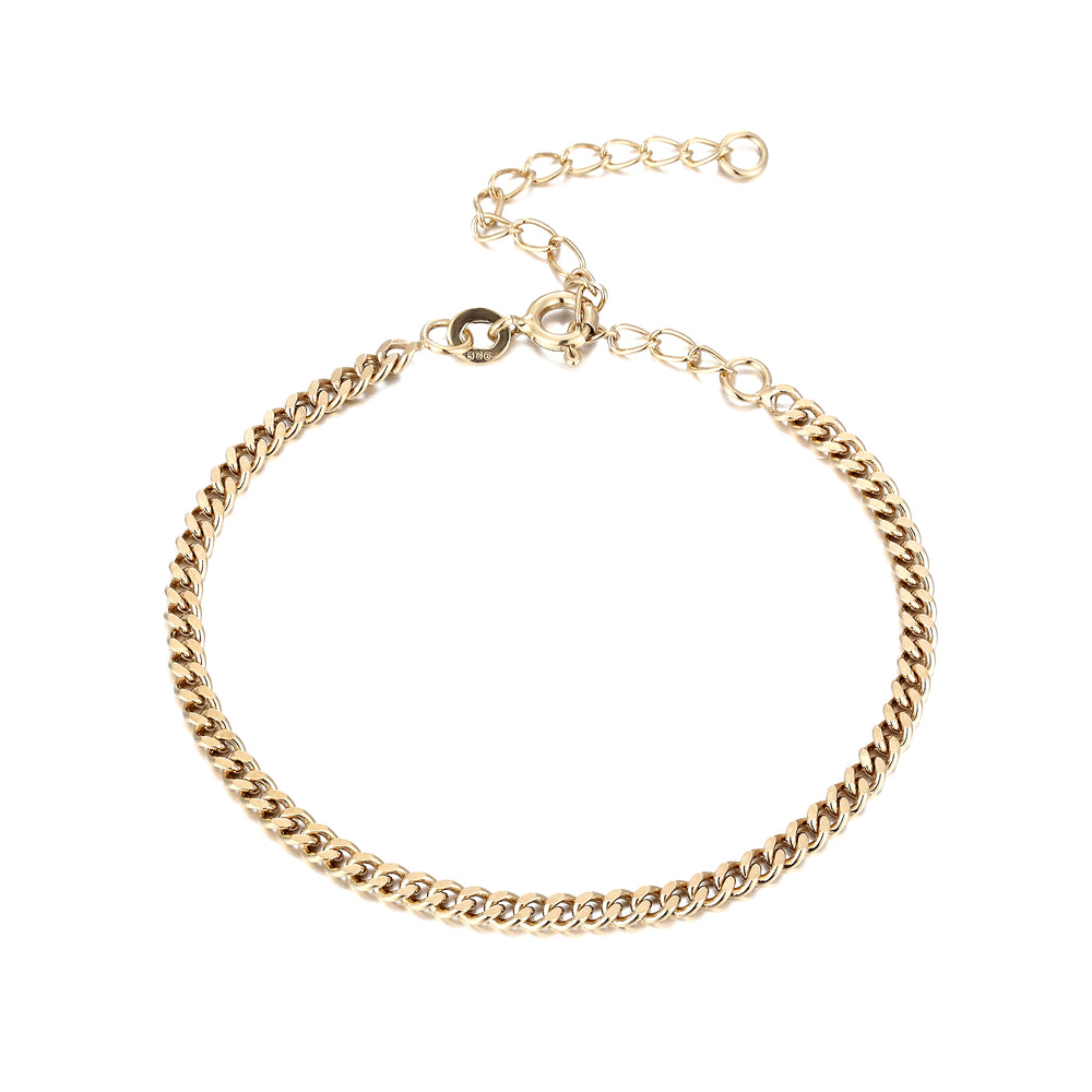 gold curb chain bracelet - seolgold