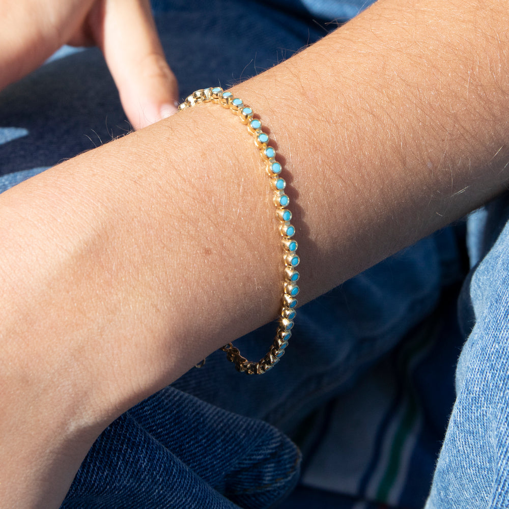 Turquoise gold bracelet - seolgold