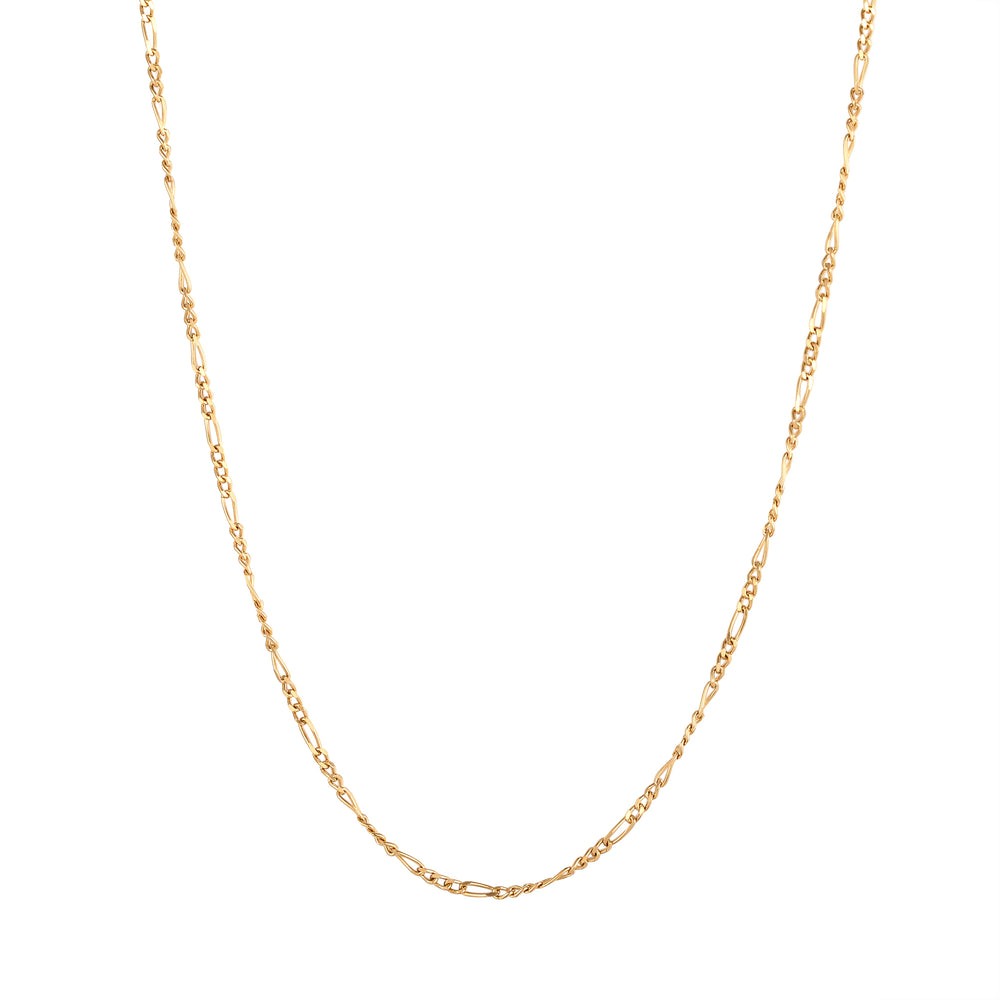 silver figaro necklace -seol gold