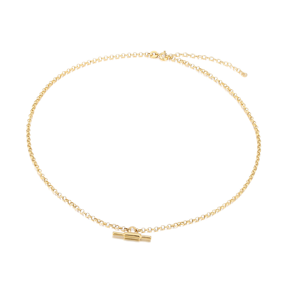 gold tbar necklace - seolgold