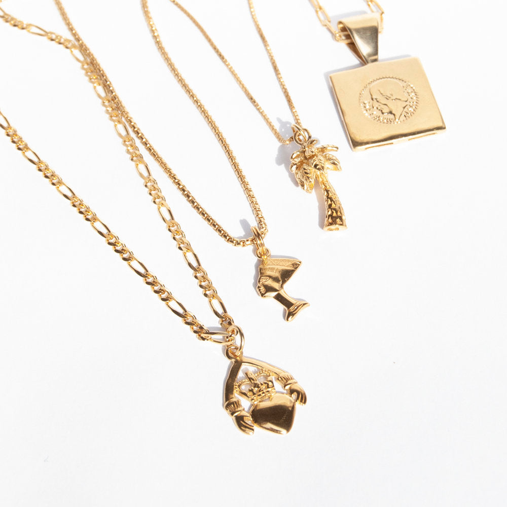 palm tree necklace - seol-gold