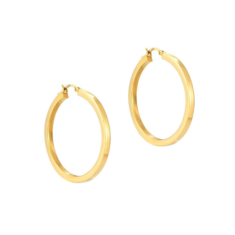 Flat Edge Creole Hoop Earrings