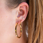 Flat Edge Creole Hoop Earrings - seol-gold