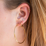 Large Round Thin Creole Hoop Earrings - seol-gold