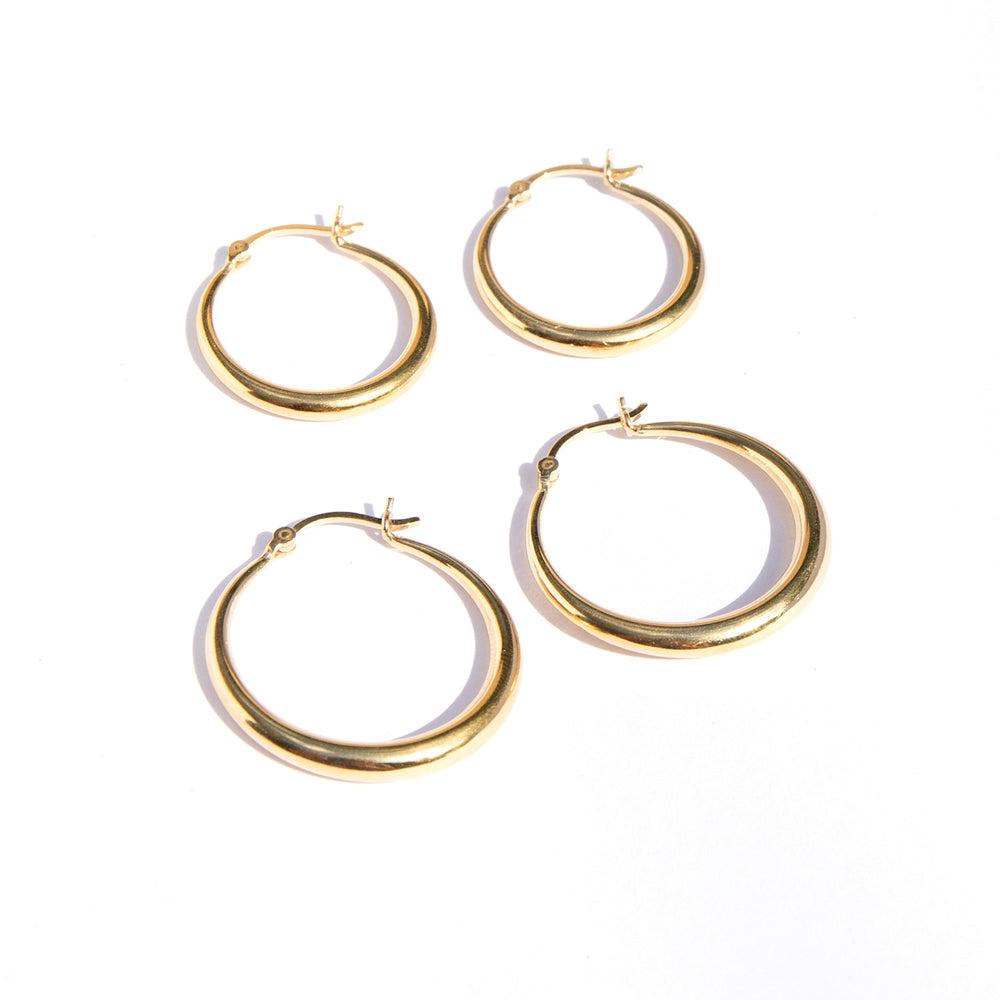 Asymmetric Creole Hoops - seol-gold
